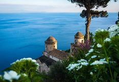 Sightseeing Villa Rufolo and it`s gardens in Ravello mountaintop setting on Italy`s most beautiful coastline, Ravello, Italy stock image