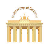 Sightseeings Niemcy Brandenburg brama na białym odosobnionym tle wektor Obrazy Royalty Free