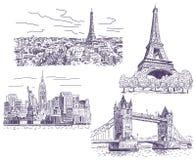 Sightseeings wektorowi rysunki ustawiający Obraz Royalty Free