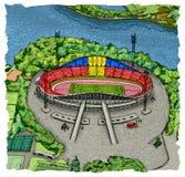 Krasnoyarsk stadium. Island of rest in Krasnoyarsk. Stadium in Krasnoyarsk. Siberia. Top view of Krasnoyarsk. Sightseeing of Krasnoyarsk vector illustration
