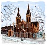 Organ hall in Krasnoyarsk. Sightseeing of Krasnoyarsk. Attraction of Siberia stock illustration