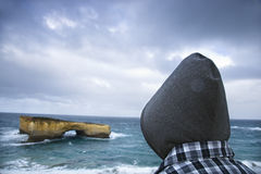 Sightseer at coast. Royalty Free Stock Photography
