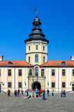 Sightseers in the courtyard of the Nesvizh castle Royalty Free Stock Image