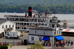 Sightseers getting ready to board the steamboat, Lac Du Saint Sacrement, Lake George,New York,2016 Stock Images