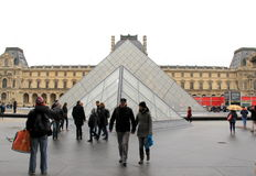 Sightseers walking around the courtyard,The Louvre,Paris,France,2016 Stock Photo