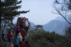 Sightseers, Yellow Mountain Huangshan China Stock Photos