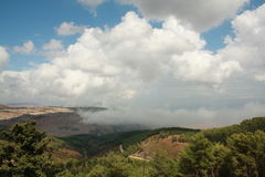Sightseings from Birya, Israel. Sightseings from Birya, Tsfad, Israel. With clouds and shade Royalty Free Stock Image