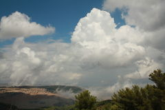 Sightseings from Birya. Tsfad, Israel. Mountains, meadows and clouds Stock Images