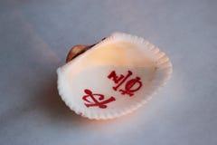 Sigil,绘在古老埃及语言的海壳的爱和关系 Neferu Bastet 免版税图库摄影