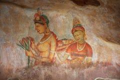 Sigiria, oude tekeningen op rotsen Royalty-vrije Stock Fotografie
