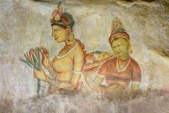 Sigiriya-Felsen, gemalte Frauen, Sri Lanka Stockbild