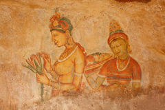 Sigiriya frescoes Stock Photos