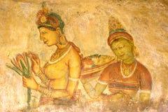 Sigiriya Frescos, Sri Lanka royalty free stock photos