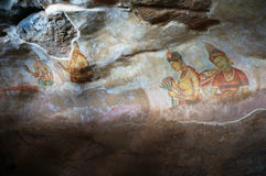Sigiriya frescos in Sri Lanka Royalty Free Stock Images