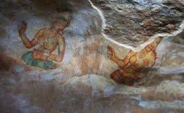 Sigiriya freskomålningar i Sri Lanka Royaltyfria Bilder