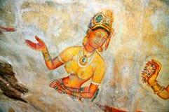 Sigiriya-Freskos: Nahaufnahme von Celestial Nymph Lizenzfreie Stockfotografie