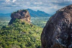 Sigiriya Lion Rock fästning och landskap i Sri Lanka royaltyfri fotografi