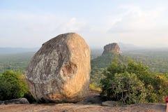 Sigiriya Lion Rock Fortress in Sri Lanka. View from Pidurungala rock to Sigiriya Lion Rock Fortress in Sri Lanka, so-called 8th wonder of the world and former Stock Photography