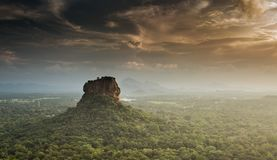 Sigiriya Lion Rock fortress, view from Pidurangala,Sri Lanka. Consider as the 8th wonder of the world royalty free stock photography