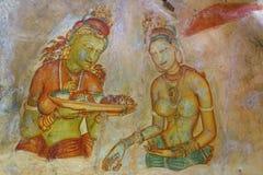 Sigiriya Murals. Fresco made on the wall of ancient Sigiriya, Sri Lanka Stock Photography