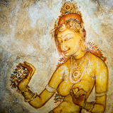 Sigiriya painting at the lion rock and the fortress in sky Royalty Free Stock Image