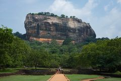 Sigiriya Rock or Lion Rock is an ancient fortress near Dambulla, Sri Lanka. Sigiriya is a UNESCO World Heritage Site. Sigiriya Rock or Lion Rock , Sri Lanka Royalty Free Stock Photos