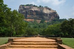 Sigiriya Rock or Lion Rock is an ancient fortress near Dambulla, Sri Lanka. Sigiriya is a UNESCO World Heritage Site. Sigiriya Rock or Lion Rock , Sri Lanka Stock Photos