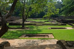 Sigiriya Rock or Lion Rock is an ancient fortress near Dambulla, Sri Lanka. Sigiriya is a UNESCO World Heritage Site. Sigiriya Rock or Lion Rock , Sri Lanka Stock Images