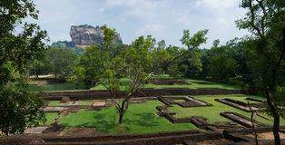 Sigiriya Rock or Lion Rock is an ancient fortress near Dambulla, Sri Lanka. Sigiriya is a UNESCO World Heritage Site. Sigiriya Rock or Lion Rock , Sri Lanka Stock Image