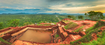 Sigiriya rock. Panorama Stock Photos