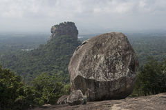Sigiriya rock from Pidurangala Rock, Sri Lanka. Sigiriya rock from Pidurangala Rock overlooking the forest. Sigiriya, Sri Lanka stock photography