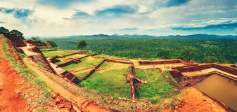 Sigiriya rock. Top view. Panorama. World Heritage Site Sgiriya or Lion rock. Top view panorama Royalty Free Stock Image