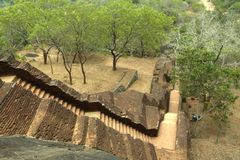 Sigiriya, Sri Lanka - der Felsen des Löwes, Felsen-Festung Stockfoto