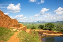Sigiriya Sri Lanka kingdom old buddhist monastery. Famous scenic tourist place. Stone mountain. Attractions under Unesco protection stock image