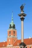 Sigismund列和皇家城堡在华沙 库存照片