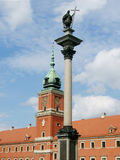 Sigismund 3rd Vasa column and Royal castle in Warsaw. Royal Castle in Warsaw Old Town. The castle was rebuilt after the WWII royalty free stock images
