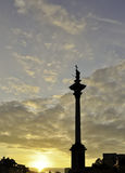 Sigismund 3rd Vasa column. Sunset in Warsaw Stock Photo