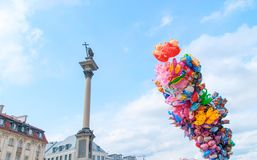 Sigismund column and and many colorful balloons in Warsaw. Royalty Free Stock Photos