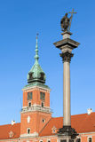Sigismund Column and Royal Castle in Warsaw Stock Photo