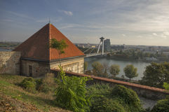 Sigismund gate and river Danube Stock Photography