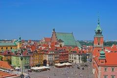 Sigismund's Column and Royal Castle at Castle Square, Warsaw, Poland Stock Image