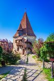 Sigisoara, Romania: The Shoemakers Tower in Sighisoara stock images