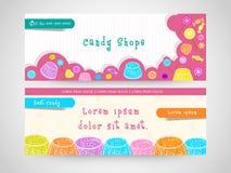 Süßigkeitsshop-Netztitel oder Fahnensatz Stockbilder