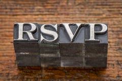 Siglas de RSVP en tipo del metal Foto de archivo