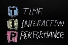 Siglas del TIP, interacción del tiempo Imagenes de archivo