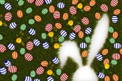 Ζωηρόχρωμα αυγά Πάσχας με το σύμβολο κουνελιών απεικόνιση αποθεμάτων