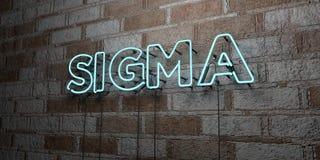 SIGMA - Glödande neontecken på stenhuggeriarbeteväggen - 3D framförde den fria materielillustrationen för royalty vektor illustrationer