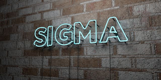 SIGMA - Glowing Neon Sign on stonework wall - 3D rendered royalty free stock illustration. Can be used for online banner ads and direct mailers Royalty Free Stock Image