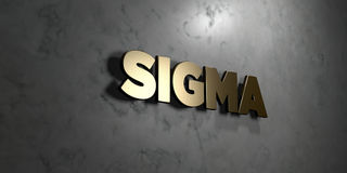 Sigma - Gold sign mounted on glossy marble wall  - 3D rendered royalty free stock illustration Stock Photos