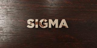 Sigma - grungy trärubrik på lönn - 3D framförd fri materielbild för royalty royaltyfri illustrationer